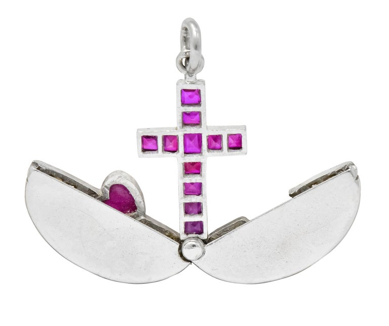 Late Edwardian Ruby Diamond Platinum Sacred Heart Cross Articulated Charm For Sale 4