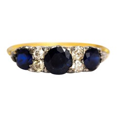 Late Edwardian Sapphire and Diamond 18 Carat Gold Ring