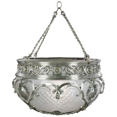 Late Edwardian Silver Plated Brass Ceiling Light