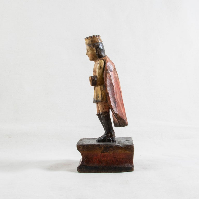 Hand-Carved Late 18th Century Spanish Hand Carved Polychrome King Sculpture For Sale