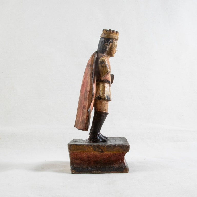 Wood Late 18th Century Spanish Hand Carved Polychrome King Sculpture For Sale