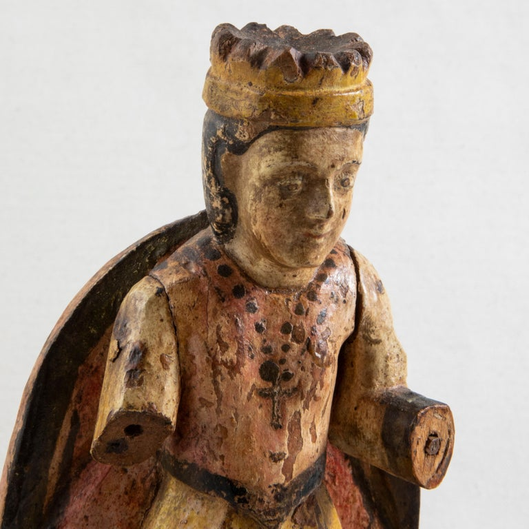 Late 18th Century Spanish Hand Carved Polychrome King Sculpture For Sale 1
