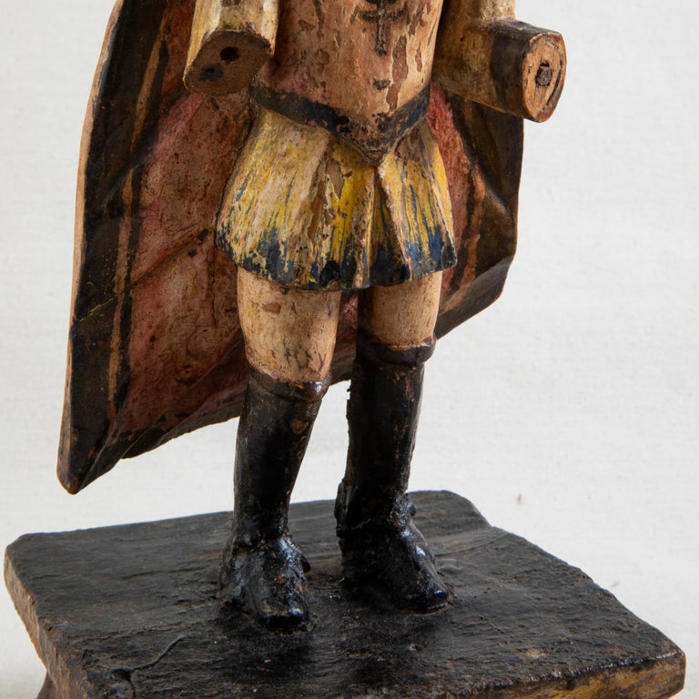 Late 18th Century Spanish Hand Carved Polychrome King Sculpture For Sale 2