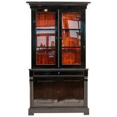 Late Empire Danish Glass Cabinet in Black Polished Mahogany