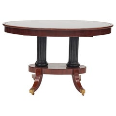 Late Empire Danish Mahogany Center Table with Black Glass Tabletop