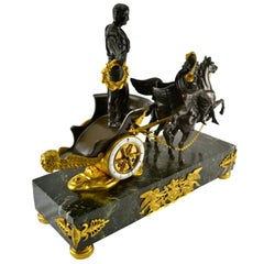 Late Empire 'Roman Triumph' Chariot Clock Garniture