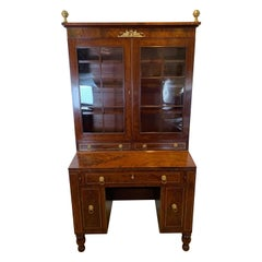 Late Federal Desk and Bookcase in Walnut with Brass Inlay, 1820-1830