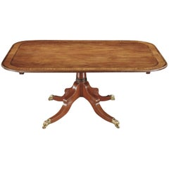 Late George III Mahogany and Satinwood Inlaid Centre Pedestal Dining Table