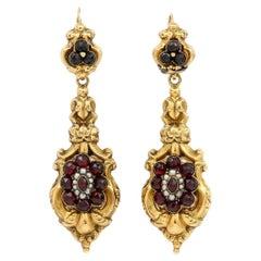 Late Georgian 18ct Gold Garnet Cluster and Seed Pearl Drop Earrings, Circa 1835