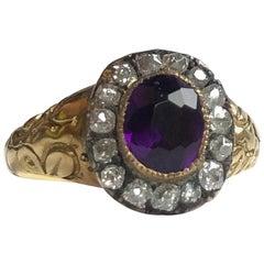 Late Georgian Amethyst and Rose Cut Diamond 15 Carat Gold Cluster Ring