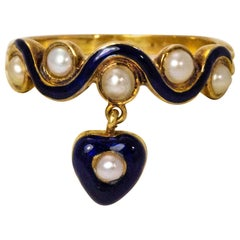 Late Georgian Blue Enamel and Pearl Hanging Heart 15 Karat Gold Ring