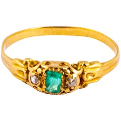 Late Georgian Emerald and Diamond 18 Carat Gold Ring