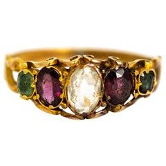 Late Georgian Emerald, Garnet and Chrysoberyl 12 Carat Gold Ring