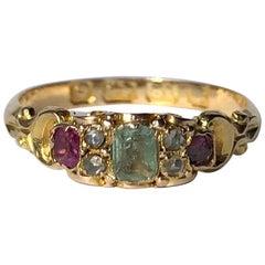 Late Georgian Emerald, Ruby and Diamond 18 Carat Gold Ring