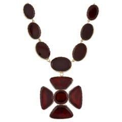 Late Georgian Garnet Maltese Cross Pendant Necklace