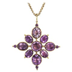Late Georgian Gold and Amethyst Quatrefoil Cluster Pendant on Chain