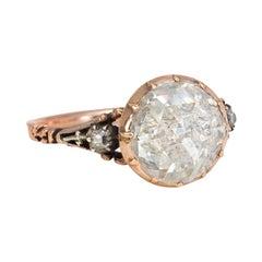 Late Georgian Gold and Foiled Back Rose-Cut Diamond Ring