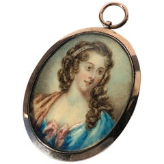 Late Georgian Gold and Painted Ivory Portrait Pendant