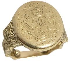Late Georgian Gold Photo Locket Ring