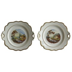 Late Georgian John Ridgway Pair of Porcelain Plates Hand Painted Ptn 1054
