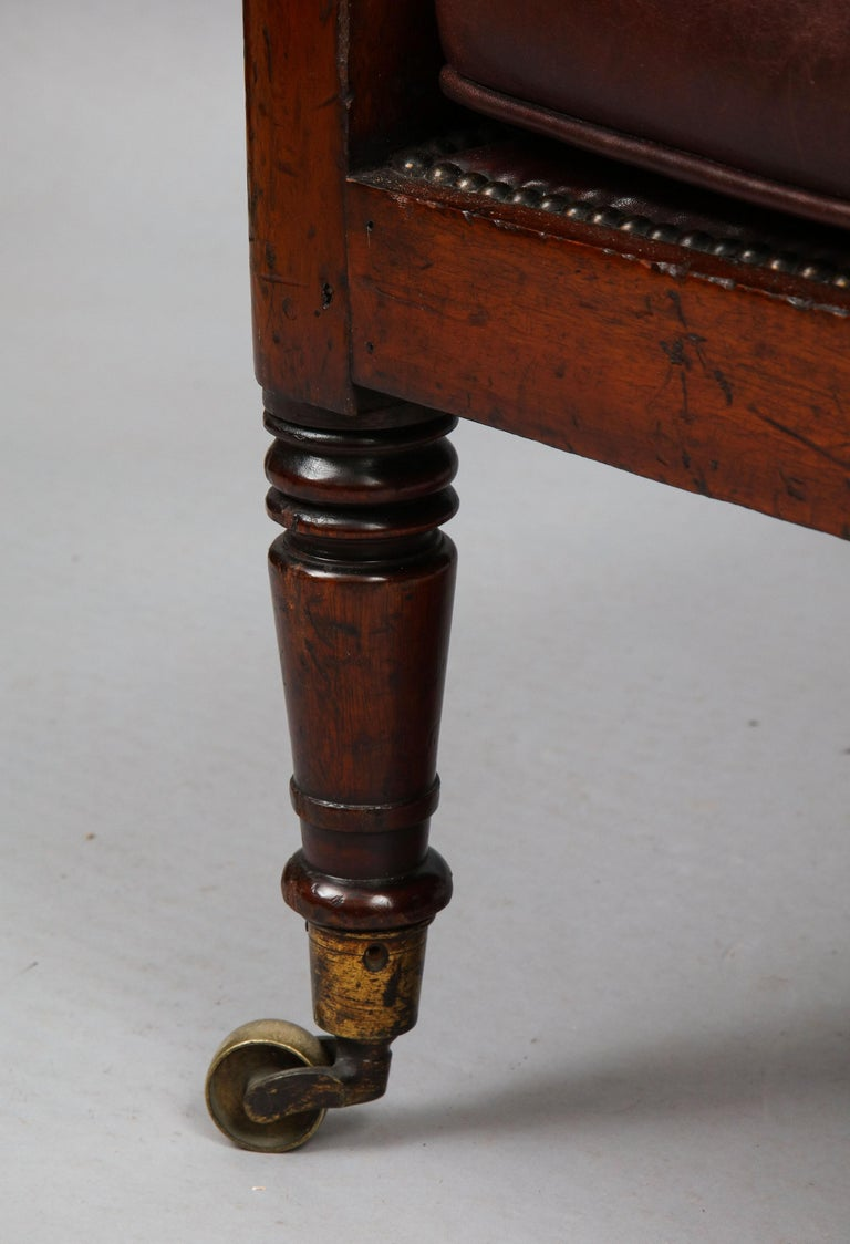 Leather Late Georgian Library Chair For Sale