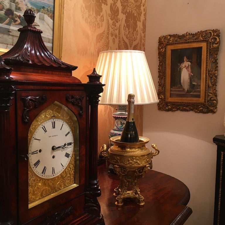 Late Georgian Mahogany Musical Table Clock For Sale 1
