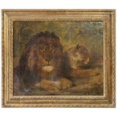 Late Georgian Painting of Two Lions