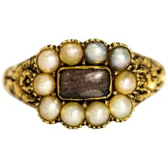 Late Georgian Pearl and Crystal 9 Carat Gold Mourning Ring