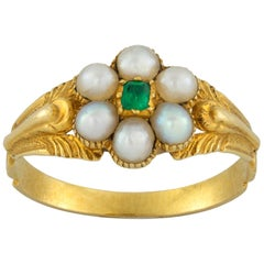 Late Georgian Pearl and Emerald Ring