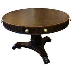 Spätgeorgianischer Bibliothekstisch mit Trommel-Tischplatte