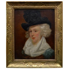 Late Georgian/Regency Painting Depicting a Lady Sporting a Hat