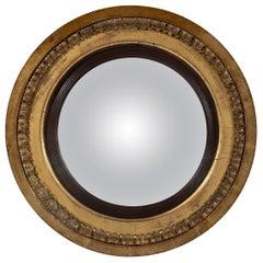 Late Georgian Regency Period Carved Giltwood Convex Mirror