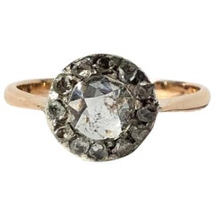 Late Georgian Rose Cut Diamond and 9 Carat Gold Cluster Ring