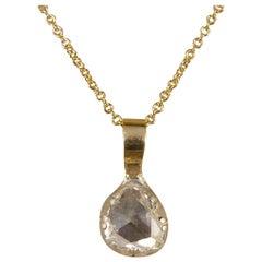 Late Georgian Rose Cut Diamond Pendant in Modern Bail and 18 Carat Gold Chain