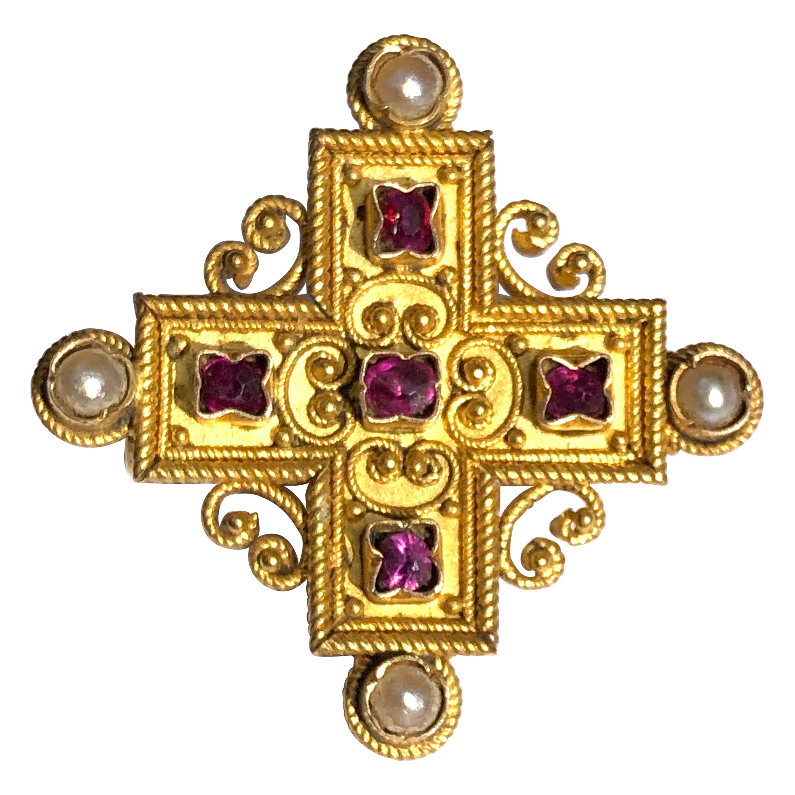 1.00Ct Round Cross Pendant Necklace 14k Gold Over Sterling Silver $495