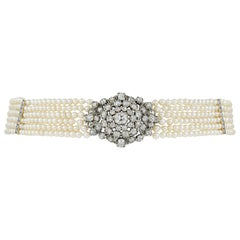 Late Georgian Six-Row Natural Pearl and Diamond Collar Necklace