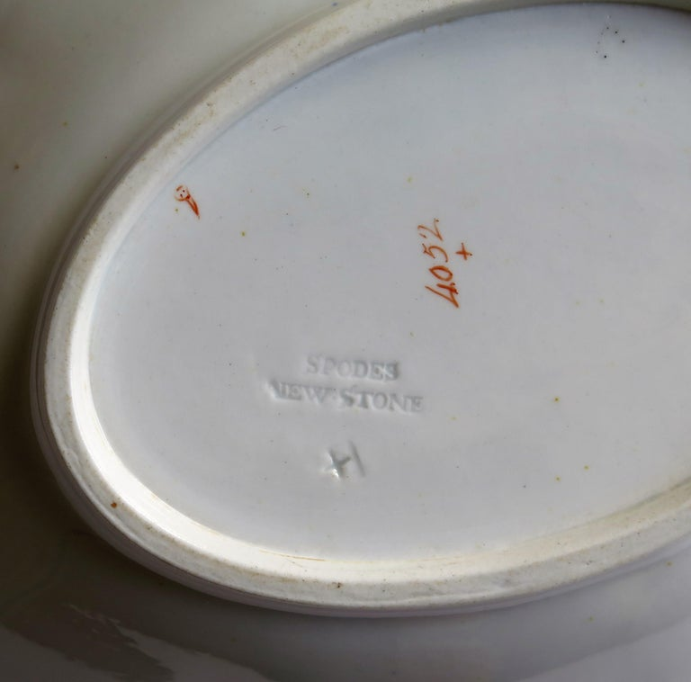 Late Georgian Spode Dish or Oval Plate finely enamelled Pattern 4052, circa 1820 For Sale 5