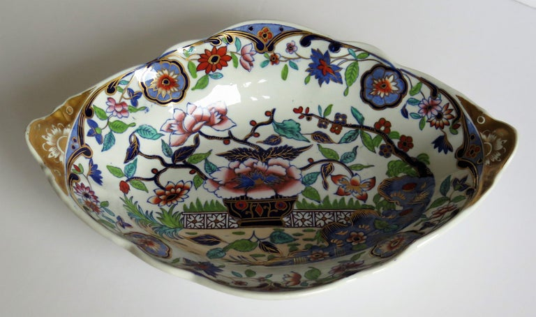 Chinoiserie Late Georgian Spode Dish or Oval Plate finely enamelled Pattern 4052, circa 1820 For Sale