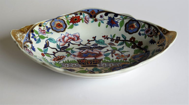 English Late Georgian Spode Dish or Oval Plate finely enamelled Pattern 4052, circa 1820 For Sale