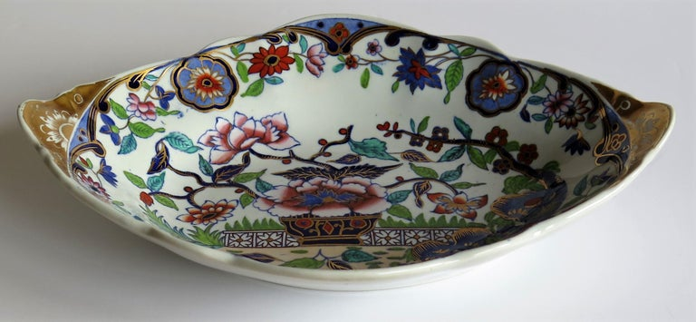 Hand-Painted Late Georgian Spode Dish or Oval Plate finely enamelled Pattern 4052, circa 1820 For Sale