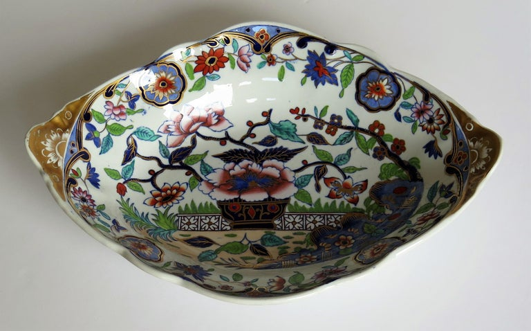 Late Georgian Spode Dish or Oval Plate finely enamelled Pattern 4052, circa 1820 In Good Condition For Sale In Lincoln, Lincolnshire