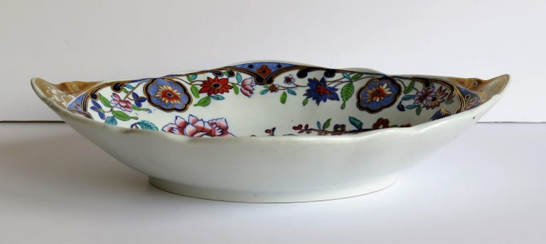Ironstone Late Georgian Spode Dish or Oval Plate finely enamelled Pattern 4052, circa 1820 For Sale