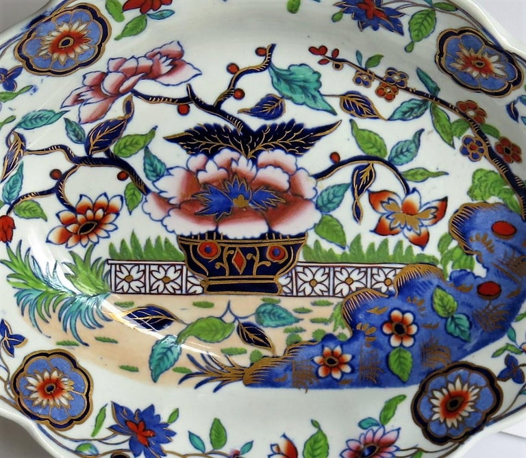 Late Georgian Spode Dish or Oval Plate finely enamelled Pattern 4052, circa 1820 For Sale 1