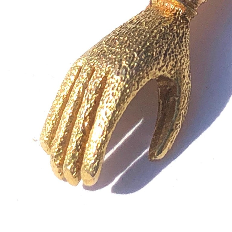 Women's or Men's Late Georgian Turquoise and 15 Carat Gold Hand Charm For Sale