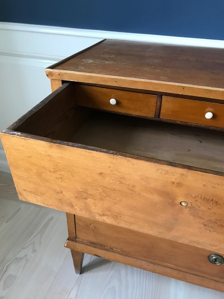 Late Gustavian 19th Century Swedish Chest in Birch with Drawers For Sale 1