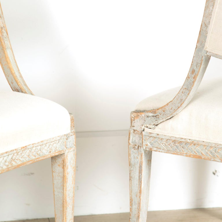Painted Late Gustavian Barrel Back Armchairs