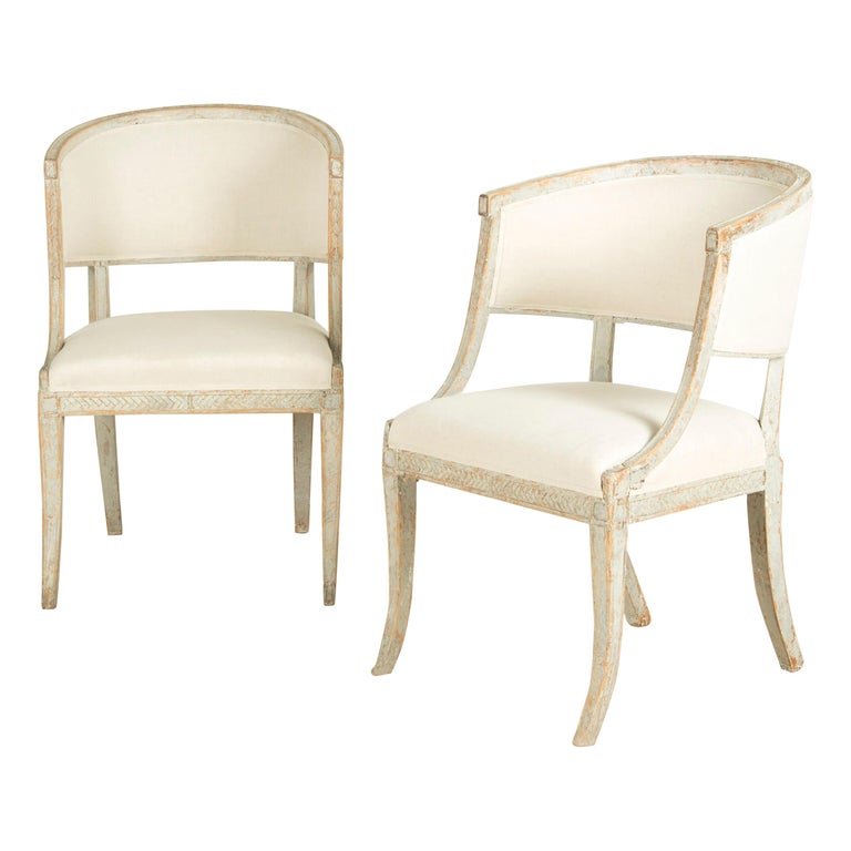 Late Gustavian Barrel Back Armchairs