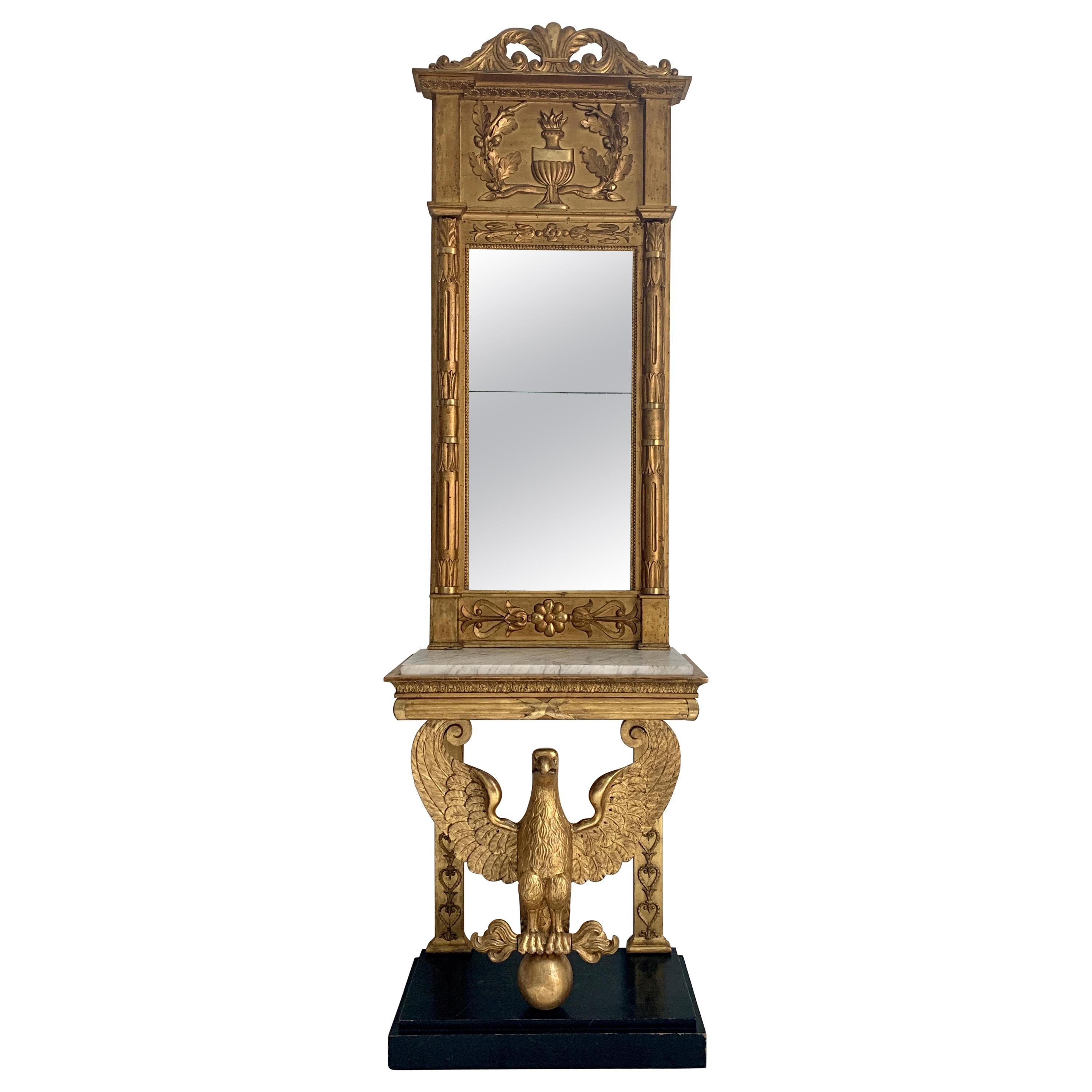 Late Gustavian Early 19th Century Giltwood Eagle Console Table and Mirror