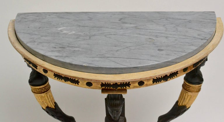 Late Gustavian Giltwood Console Table with a Blue Turquin Marble Top, circa 1805 In Good Condition For Sale In Stockholm, SE