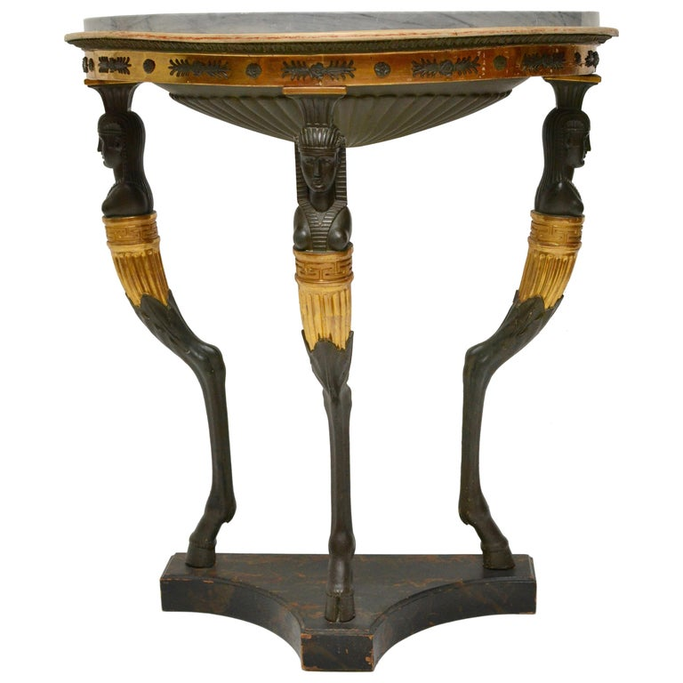 Late Gustavian Giltwood Console Table with a Blue Turquin Marble Top, circa 1805 For Sale